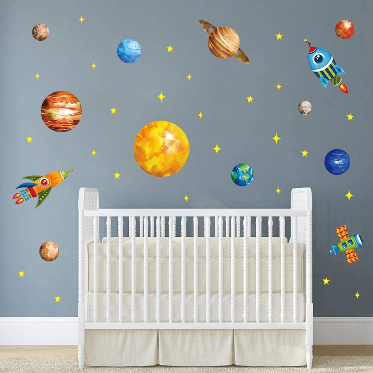 decalmile Planet Space Wall Decals Solar System Stars Rockets Wall Stickers Baby Nursery Boys Bedroom Playroom Wall Decor