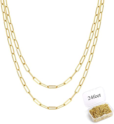 ALEXCRAFT 12 Feet 14K Dainty Gold Plated Brass Paperclip Chain Link Bulk for Jewelry Making