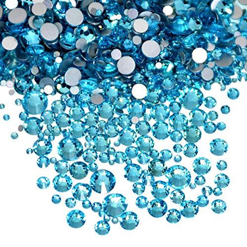 AD Beads 1440pcs Mixed Size Non Hotfix Quality Rhinestones Flatback Nail Art Pick Color (Aquamarine 05)