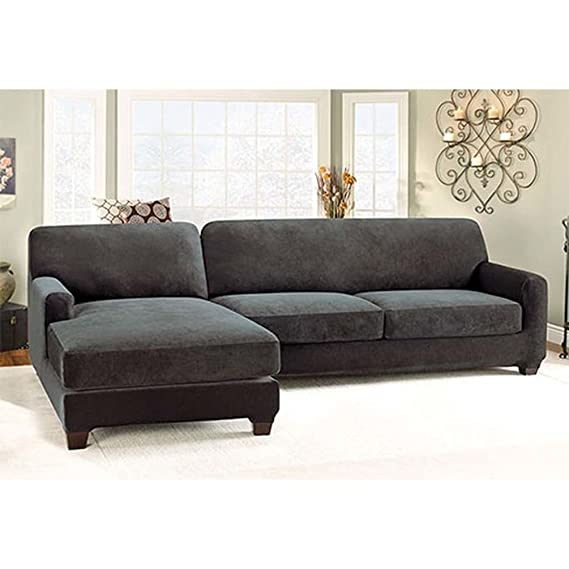 Merveilleux Sure Fit Stretch Pique 2 Piece With Left Side Chaise Sectional Slipcover    Black (