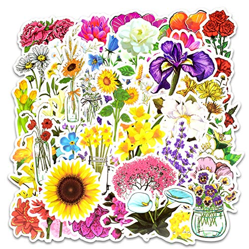 Honch Vinyl Spring Flower Stickers 50 Pcs Pack Cute Flower Decals for Laptop Ipad Car Luggage Water Bottle Helmet Teen (Vinyl Flowers)