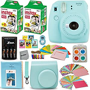 Fujifilm Instax Mini 9 Instant Camera + INSTAX Film (40 pack) + Custom Fitted Case + 4 AA Rechargeable Batteries & Charger + Assorted Frames + Photo Album + Large Selfie Mirror + MORE