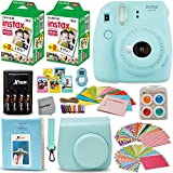 Fujifilm Instax Mini 9 Instant Camera ICE BLUE + Fuji INSTAX Film (40 Sheets) + Accessories Kit / Bundle + Custom Case + 4 AA Rechargeable Batteries & Charger + Assorted Frames + Photo Album + MORE