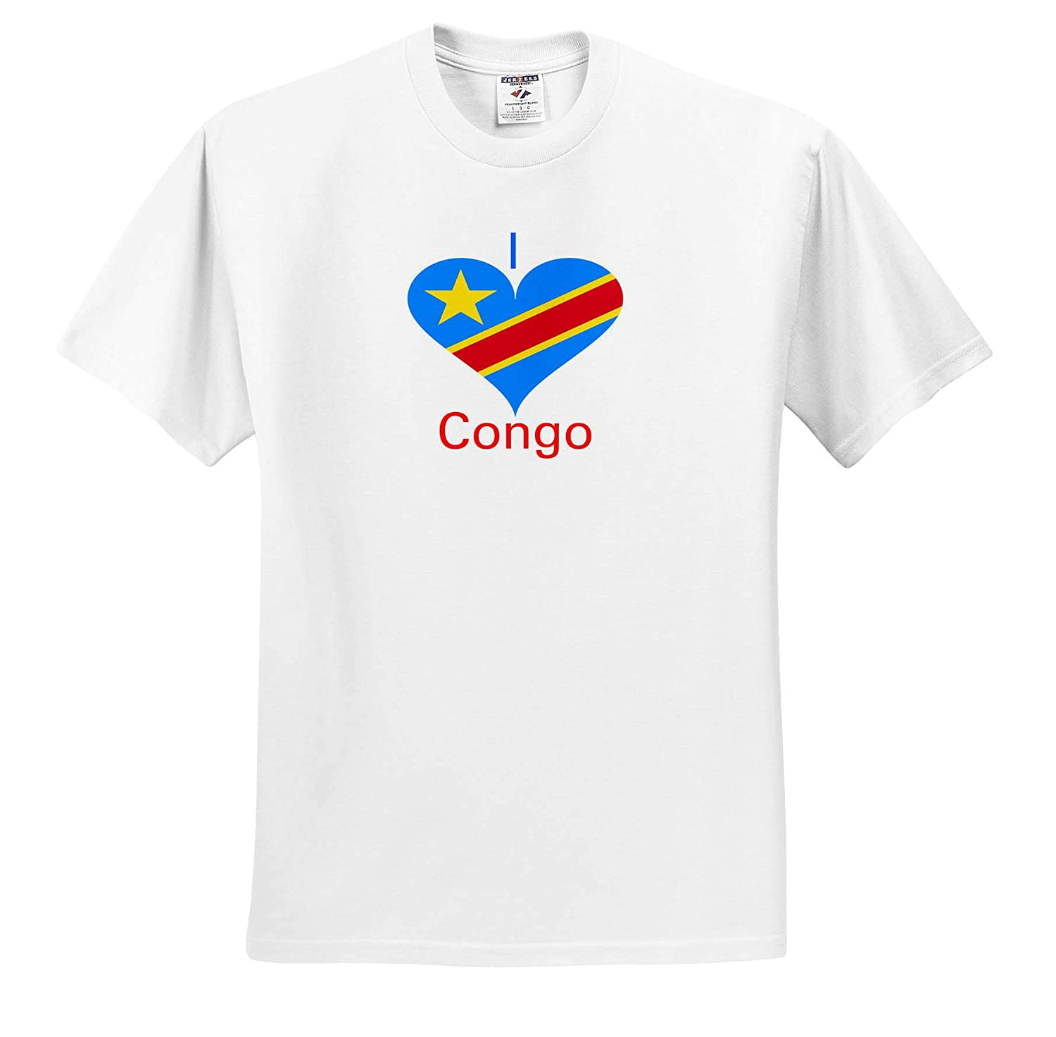 Coat of Arms in Heart T-Shirts Image of Congo Africa Coat of Arms in Heart 3dRose Lens Art by Florene
