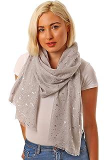 Black scarf flower floral metallic foil silver print scarves shawl present gift