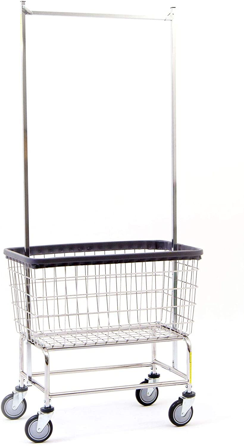 R&B Wire 200F56 Large Wire Laundry Cart with Double Pole Rack, 4.5 Bushel, Chrome