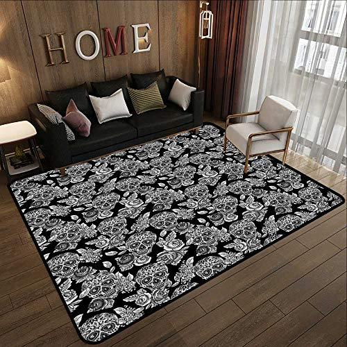 Throw Rugs,Masquerade Decorations Gothic Folk Art Collection,Skulls with Flowers Monochrome Muertos Tombstone,Black White 63