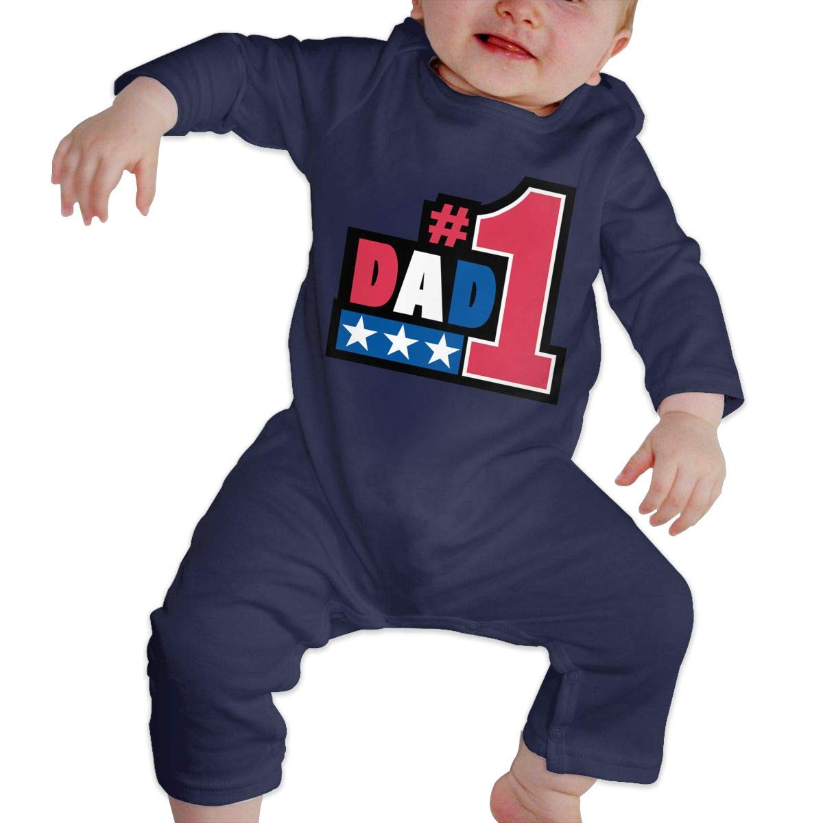 Baby Boy Girl O-Neck Long Sleeve Solid Color Onesie #1Dad Crawling Clothes