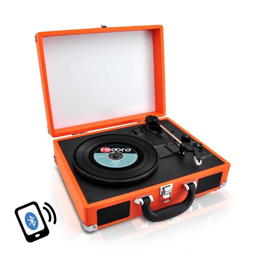 Upgraded Version Pyle Vintage Record Player, Classic Vinyl Player, Turntable, Rechargeable Batteries, Bluetooth Enabled Devices, MP3 Vinyl, Music Editing Software Included, Works w/ Mac & PC, 3 Speed