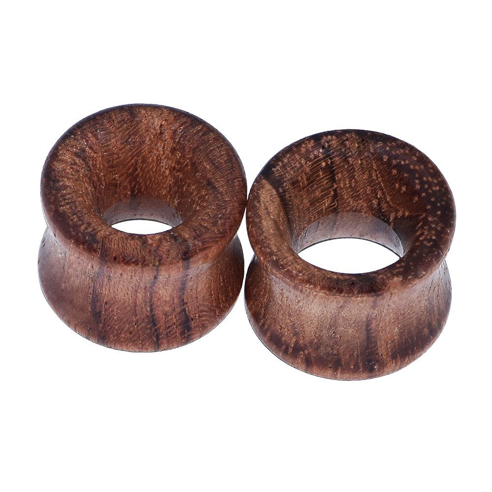 2pcs Ear Gauges Vintage Brown Organic Wood Saddle Double Flared Ear Tunnels Plugs 0g-3/4 X009-12MM
