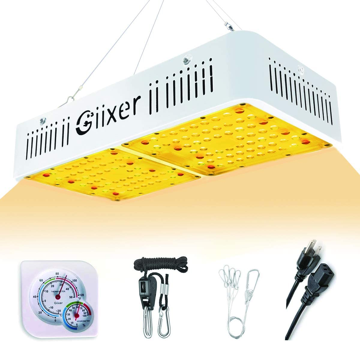 Giixer LED Grow Light 1000W Plus Full Spectrum High PAR Value Simulated Sunlight Plant Light for Hydroponic Indoor Plants Seeding Growing Flowering SMD 128LEDs Optical Lens
