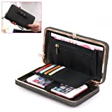 Leather Ladies Purse Wallets - Aeeque Luxury Universal Women Wallet Phone Bags Case for Samsung Galaxy S6 S7 Edge S8 S8 +/ A3 A5 J5 J7 Note 8, iPhone 8 / 8 + 7 6 6S Plus SE 5S, Huawei P10 P8 Lite 2017, Elegant Girl Bowknot Purse Cluth Phone Cases Cover with [Hand Wrist] [License Credit Card Slots Coins Holder] - Black