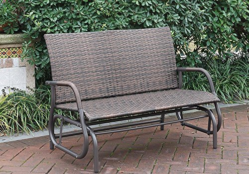 Outdoor Patio Yard Glider Loveseat Bench High Back PE Wicker Rattan Iron Frame Color (Glider Wicker Table)