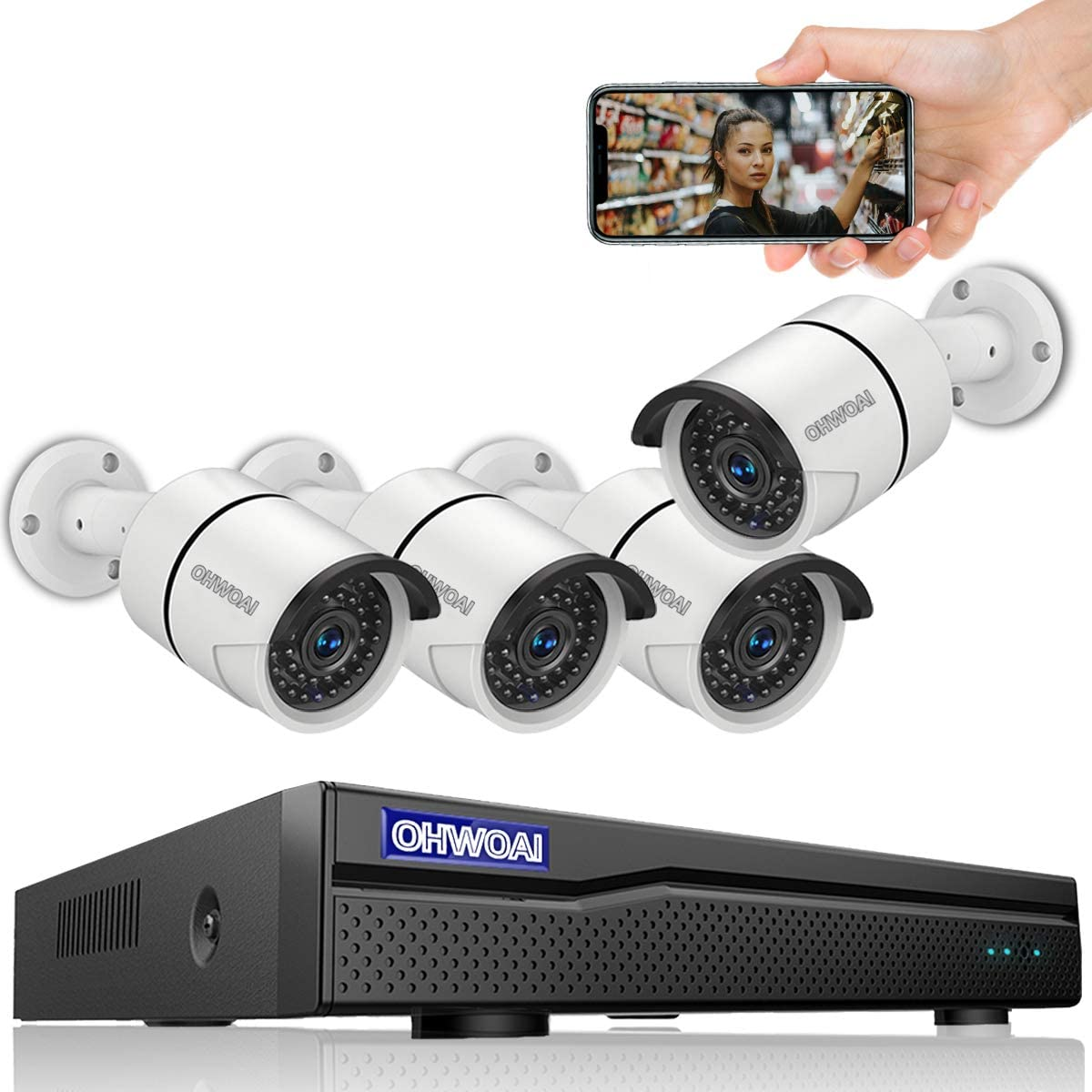【8CH 5MP DVR】 Wired 8ch Home Security Camera Outdoor System,DVR Video Surveillance Security Camera System,Surveillance DVR Kits,4pcs 1080p Security Camera Outdoor Wired,APP, NO Hard Drive