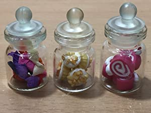 3pc Miniature Food Chocolate Cake Candy Cookie Dollhouse Cake in Clear Glass Mini Bottle Fruit Food #MF084
