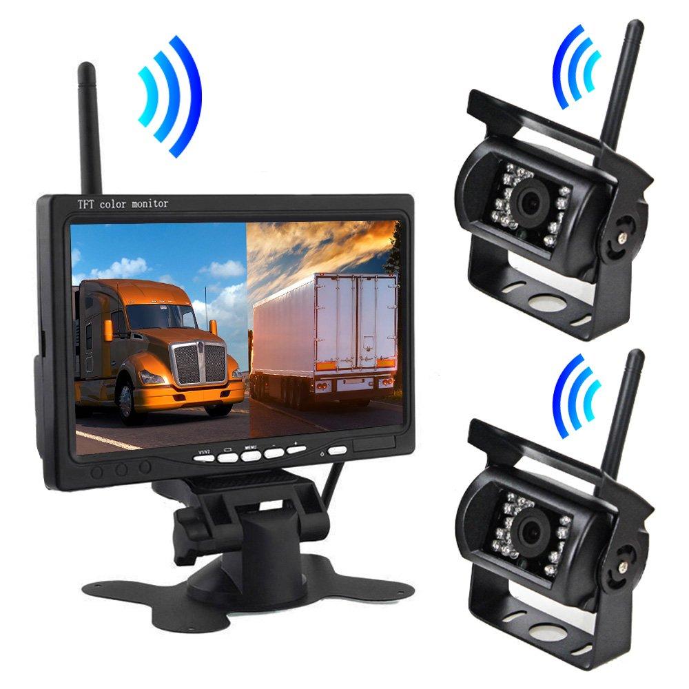 7インチモニター+ワイヤレスバックカメラ2台セット 2分割画面 同時表示可 デジタル無線接続式 映像配線不要 防水仕様カメラ 12/24V両用 大型車向け FMTPZ607W2 B07C1WWWNF