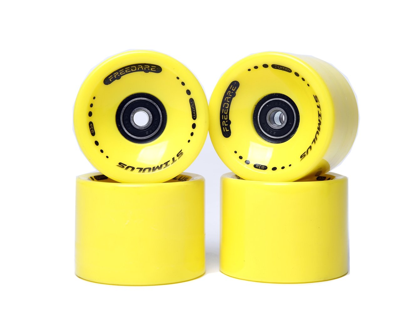 FREEDARE 70mm Longboard Wheels with ABEC-7 Bearings and Spacers(Yellow,Set of 4) by FREEDARE
