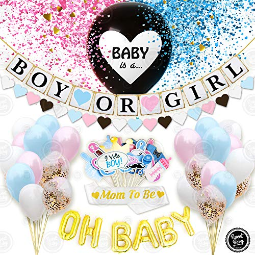 Sweet Baby Co. Baby Gender Reveal Party Supplies for Boy or Girl Baby Shower | Gender Reveal Decorations Kit With Jumbo Black Balloon And Pink Or Blue Confetti, Banner, OH BABY Foil Letter Balloons, Photo Props, Sash, Assorted Balloons, Heart Garland