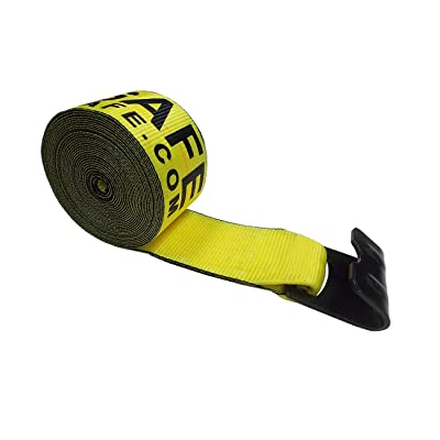 "Mega Cargo Control 4"" x 30' Winch Strap with Flat Hook Flatbed, Truck, Farm, Construction Heavy Duty (Yellow): Automotive"