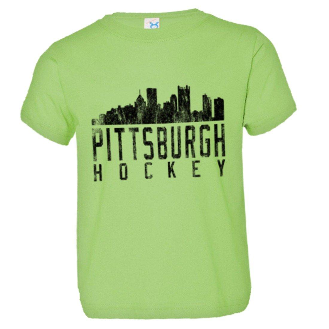 PleaseMeTees Toddler Pittsburgh Hockey Skyline Sports Distressed HQ Tee Shirt