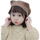 ニット帽子 子供 キッズ ベレー帽 女の子 猫耳 オシャレ かわいい ケーブル編み 裏側綿生地 秋 冬 無地6色(頭回り約46-52cm適用)