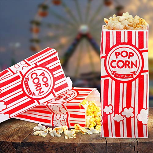 200 Popcorn Bags 1 Once - Perfect Size for Theater, Movies, Birthday Parties Celebration - Great Carnival Light Snacking Bags - Popcorn Bags for Party ...