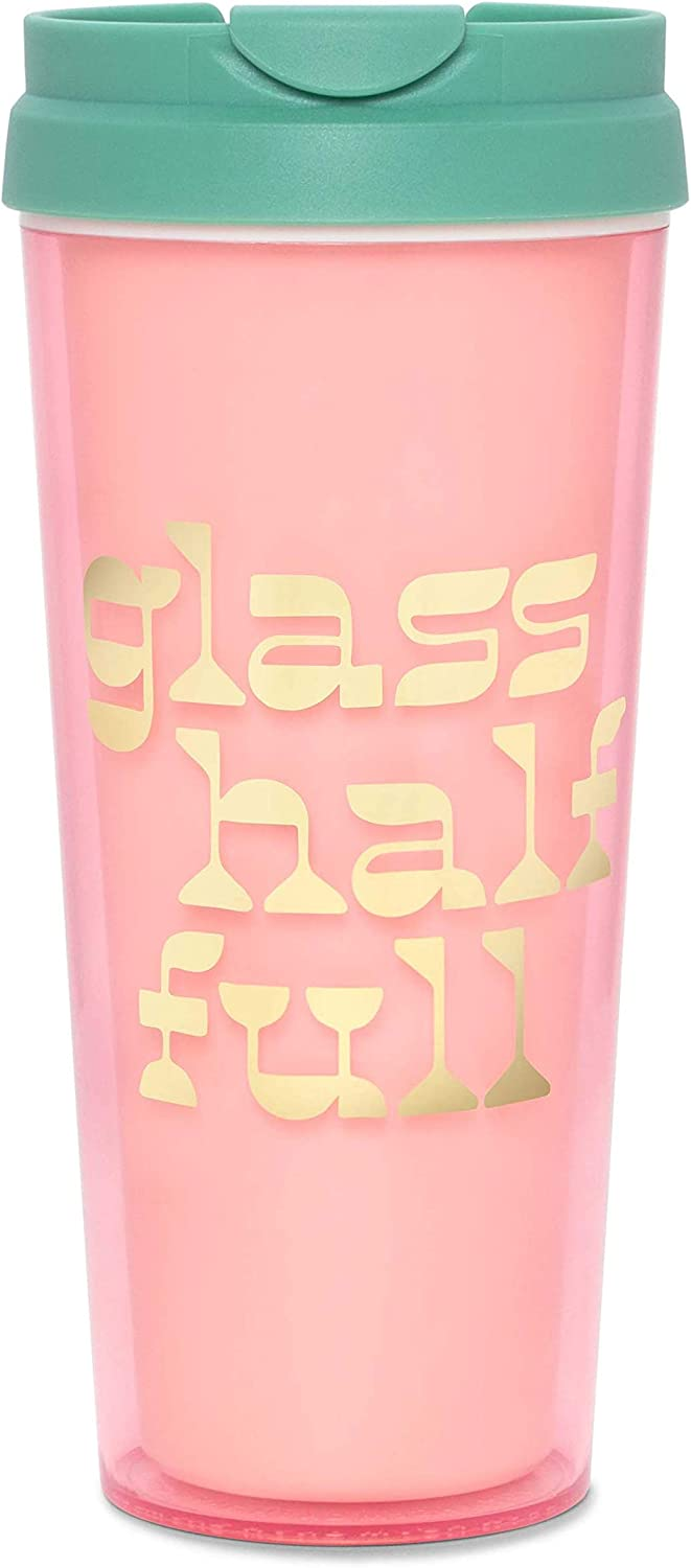 Ban.do Hot Stuff Insulated Thermal Mug with Saying, 16 Ounce Pink Travel Tumbler, Glass Half Full