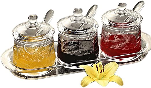 Seasoning Condiment Jar Pepper Salt Cans Spice Container Kitchen With Spoons