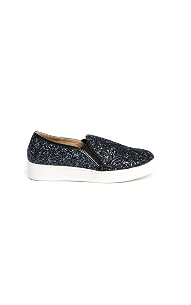 IKRUSH Women's Alex Slip On Chunky Glitter Trainers Size  in BLACK Size 3