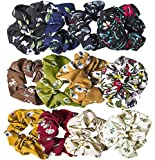 12 Pack Chiffon Hair Scrunchies Flower Scrunchy Hair Bobbles Floral Hair Ties Ponytail Holder for Women Girls- 12 Assorted Colors