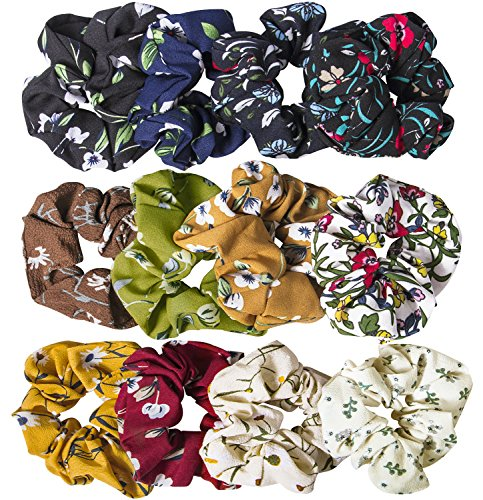 12 Pack Chiffon Hair Scrunchies Flower Scrunchy Hair Bobbles Floral Hair Ties Ponytail Holder for Women Girls- 12 Assorted Colors by YHMALL