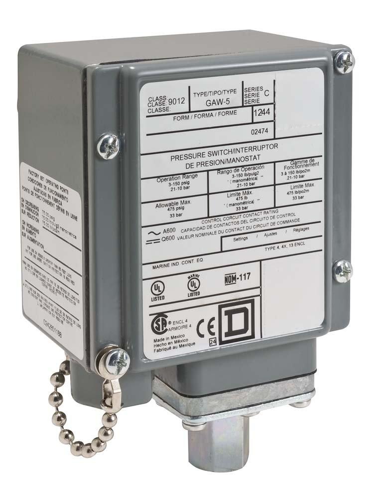 Square D 9012GDW5 Diaphragm-Actu Pressure Switch,3-150 psi