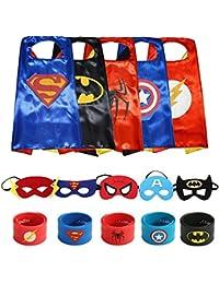 Superheros Cape and Mask Matching Slap Bracelet for Kids Costume and Dress up