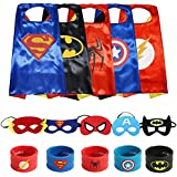 Ecparty Superheros Cape and Mask Matching Slap Bracelet for Kids Costume and Dress up