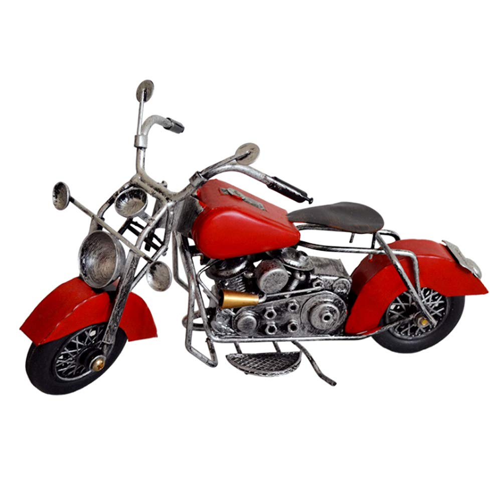 Harley Motorcycle Model Vintage Metal Antique Crafts Handicraft Iron Moto Car Ornament Collectible Art Home Decoration Birthday Gift (Harley Motorcycle RED)