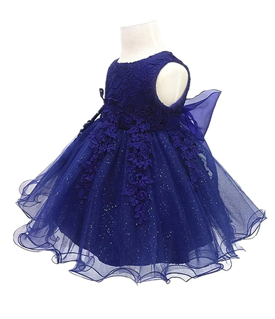 HX Baby Girls Lace Gauze Christening Baptism Wedding Dress with Petticoat