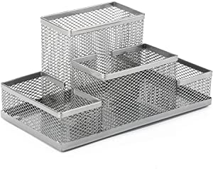 Funny live Mesh Desk Organizer Metal Pencil Pen Holder Organizer, Desk Accessories Holder for Office Home, 4 Compartments (Silver)