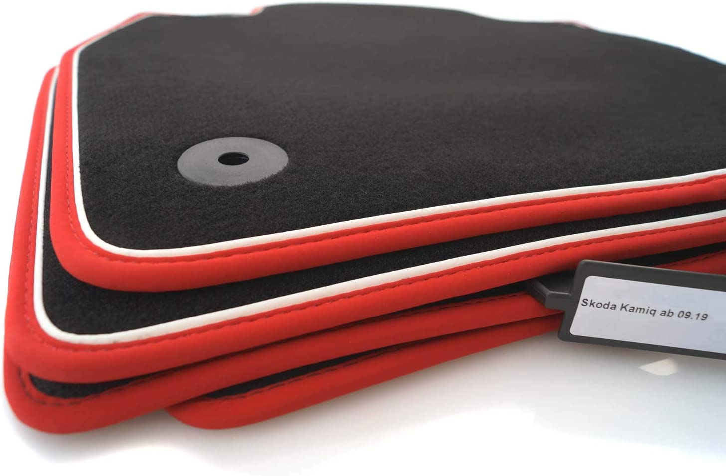 Kh Teile Fußmatten Passend Für Kamiq Premium Qualität Tuning Automatten 4 Teilig Velours Schwarz Nubuk Rot Mit Zierband Weiß Auto