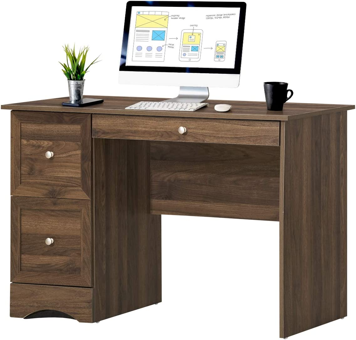 Tangkula Computer Desk with 3 Drawers, Wooden Home Office Desk PC Laptop Notebook Desk, Compact Study Desk Writing Desk, Computer Workstation Ideal for Home & Office