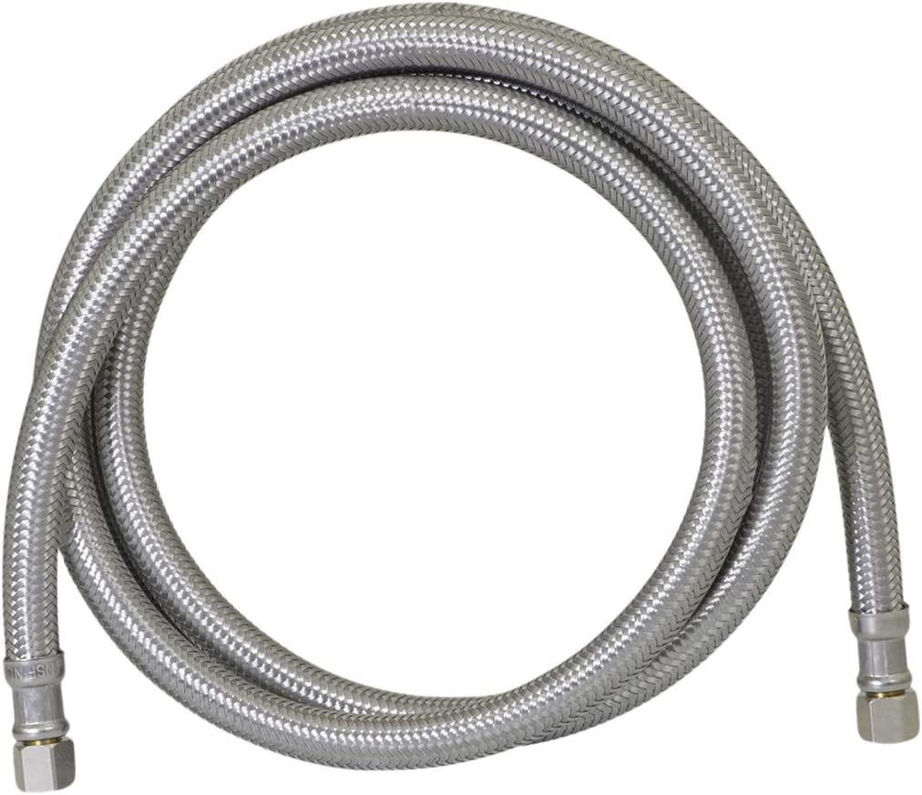 1 Pack 6-Foot Length Fluidmaster 12IM72 Ice Maker Connector 72 6 Ft. Braided Steel-1//4 x 1//4 Compression Thread Stainless Steel