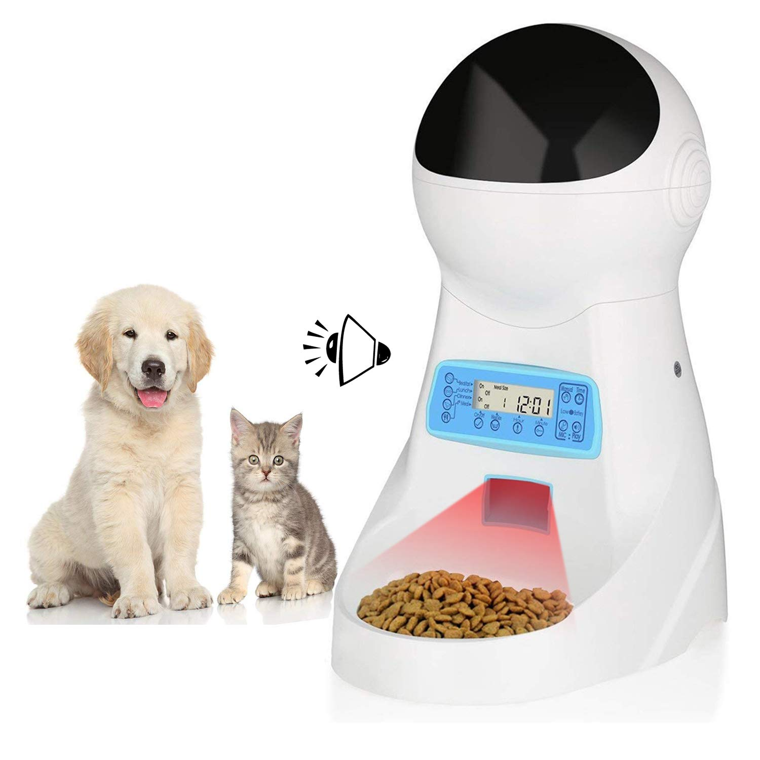 amzdeal Automatic Cat Feeder Pet Feeder Cat Food Dispenser 4 Meals A Day with Timer Programmable Portion Control Voice Recorder 3L Capacity for Cats and Dogs by amzdeal