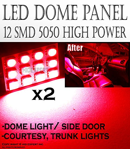 ICBEAMER 2 pcs 12 LED 5050 SMD Panel High Power Interior Map Dome Door Light Replace Halogen Bulbs Lamp [Color: Red] (Panels Rs Door)