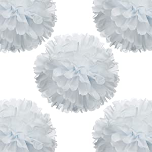 "14"" White Tissue Pom Poms DIY Decorative Paper Flowers Ball for Birthday Party Wedding Baby Shower Home Outdoor Hanging Decorations, Pack of 10"