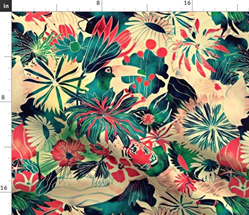 - Spoonflower Tropical Watercolor Fabric - Jungle Rainforest Floral Flora and Fauna Toucan Penink Ink Nature Vintage Print on Fabric by The Yard - Velvet for Upholstery Home Decor Bottomweight Apparel