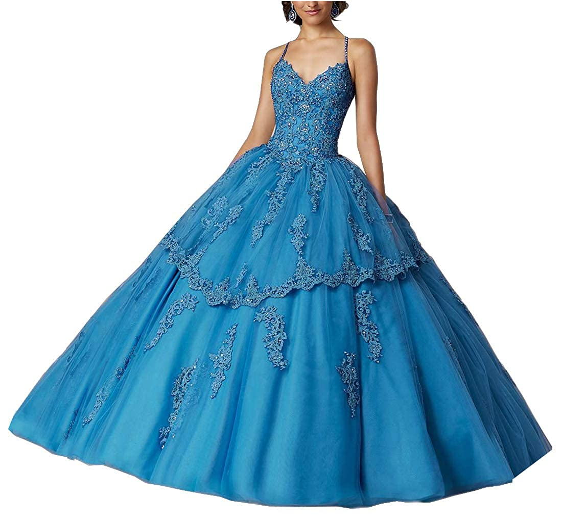 bluee M Bridal Women's Spaghetti Straps Beaded Lace Appliques Open Back Long Quinceanera Dress Ball Gown