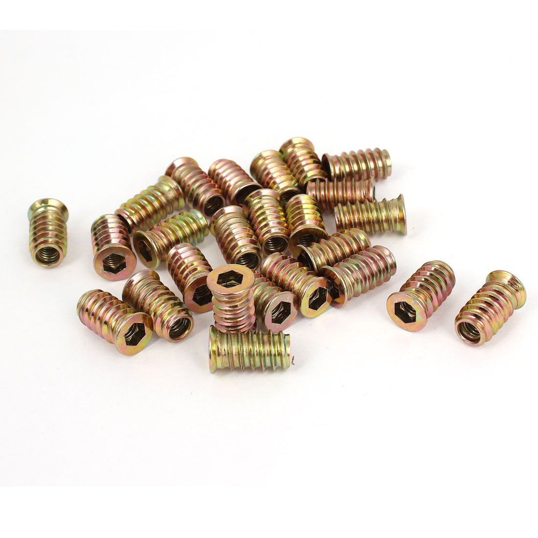 uxcell Wood Furniture M6x20mm Threaded Insert Nuts Interface Hex Socket Drive 20pcs a18072600ux0272