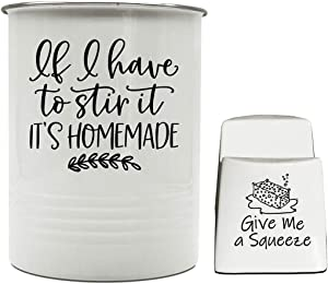 Kitchen Utensil Holder Crock With Sponge Holder I Large Kitchen Tool Utensil and Spinge Storage Caddy Organizer Kit I If I have to stir it, it's homemade. Give me a Squeeze.