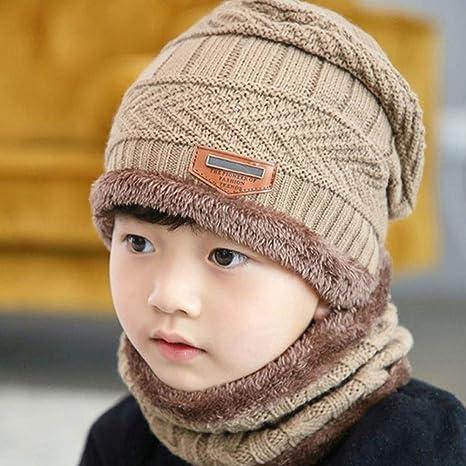 Sombreros De Invierno Para Niños Gorra De Punto Forro Polar Cálido Lana Bufandas