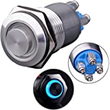 """Ulincos Latching Pushbutton Switch U16B2 1NO ON/OFF Silver Stainless Steel Shell with Blue LED Ring Suitable for 16mm 5/8"""" Mounting Hole (Blue)"""