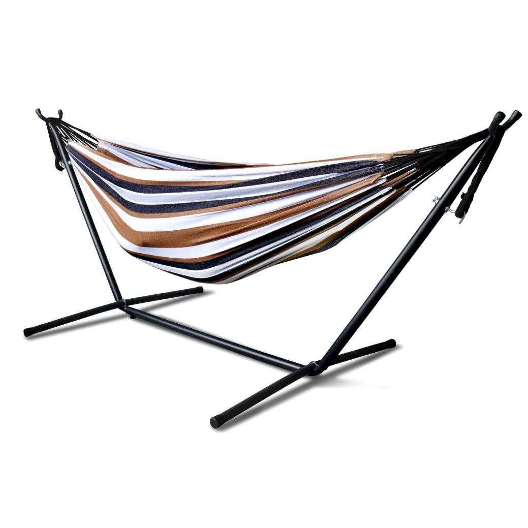 Portable Hammock Bed, Tloowy Double Hammock Swing Bed With Space Saving Steel Stand +Portable Carrying Case for Backpacking, Travel, Beach, Yard, Patio, Outdoor, Max Weight: 450lb (Desert Moon)